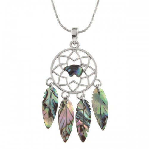 Dream Catcher Paua Abalone Shell Pendant Necklace