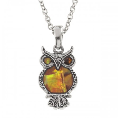 Owl Paua Abalone Shell Pendant Necklace