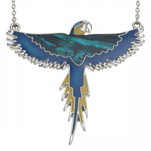 Parrot Macaw Flying Bird Abalone Paua Shell Pendant Necklace
