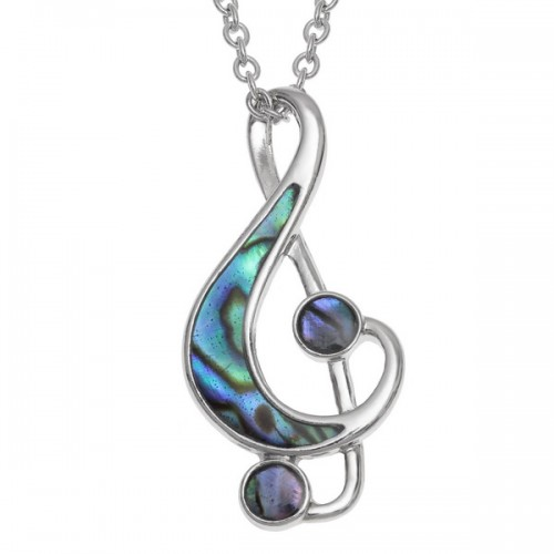 Treble Cleff Music Note Abalone Paua Shell Pendant Necklace