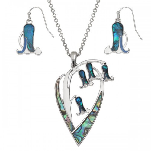 Bluebell Flower Pendant Necklace and Earrings Paua Abalone Shell Set