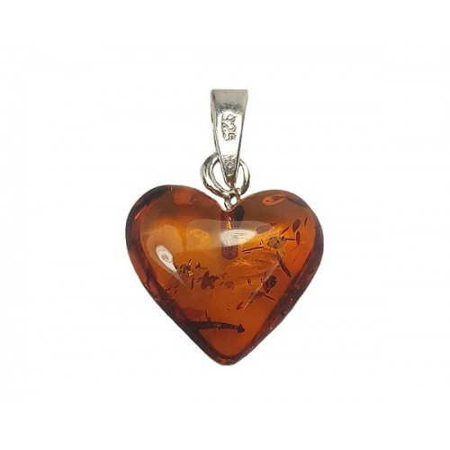 Amber Puff Heart Sterling Silver Pendant