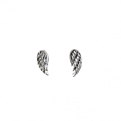 Silver Dainty Angel Wing Stud Earrings