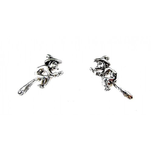 Silver Flying Witch On Broomstick Stud Earrings