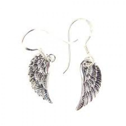 Sterling Silver Dainty Angel Wings Drop Earrings