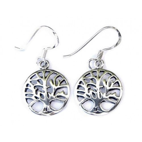 Sterling Silver Dainty Tree of Life Drop Earrings