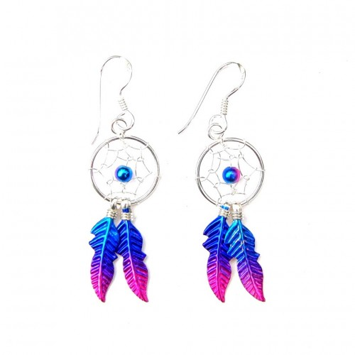 Sterling Silver Magenta Dainty Dream Catcher Drop Earrings