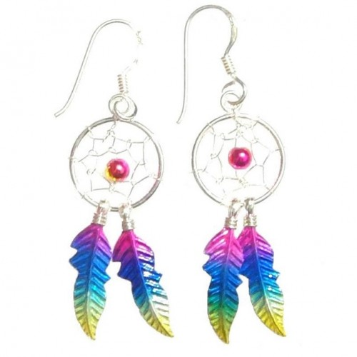 Sterling Silver Rainbow Dream Catcher Drop Earrings Large