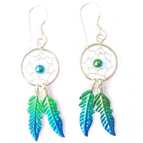Sterling Silver Green Dream Catcher Drop Earrings Large