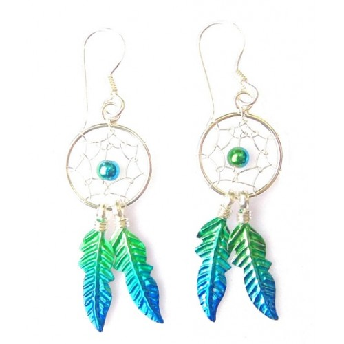 Sterling Silver Green Dream Catcher Drop Earrings