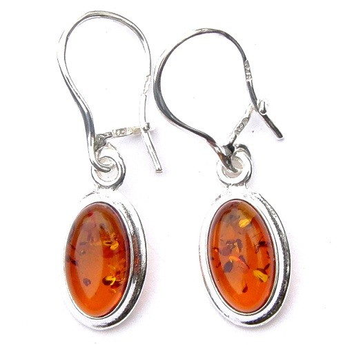 Oval Amber Sterling Silver Drop Earrings