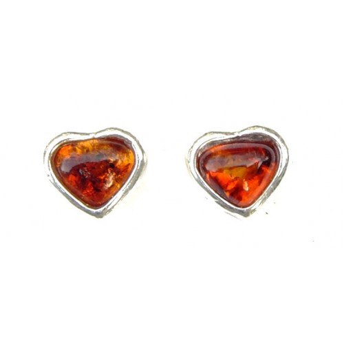 Heart Amber Sterling Silver Stud Earrings