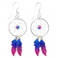 Sterling Silver Magenta Dream Catcher Drop Earrings Large