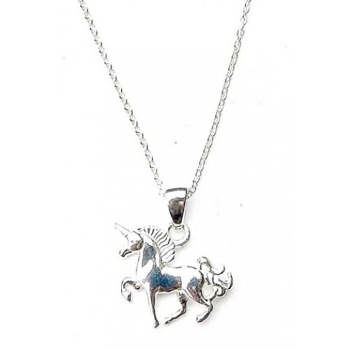 Sterling Silver Unicorn Pendant Necklace