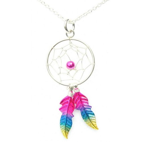 Sterling Silver Rainbow Dream Catcher Pendant Necklace