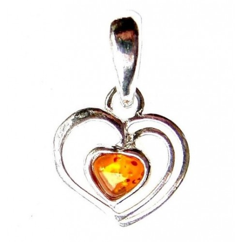 Amber Heart Sterling Silver Pendant