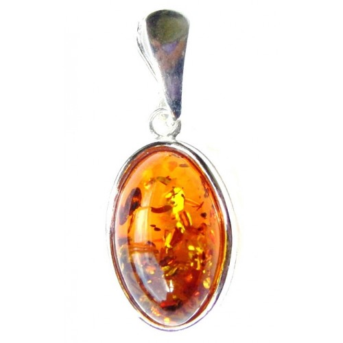 Amber Oval Sterling Silver Dainty Pendant