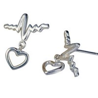 Silver Heartbeat ECG Stud Earrings