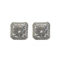 Silver Square Classic Stud Earrings