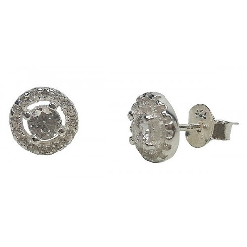 Silver Classic Round Stud Earrings 8mm