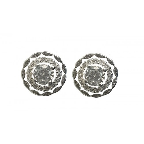 Silver Zirconia Round Stud Earrings 9mm