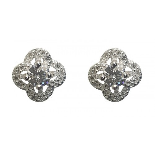 Flower Zirconia Classic Sterling Silver Stud Earrings