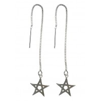 Star Sterling Silver Pull Through Threader Dangle Drop Earrings