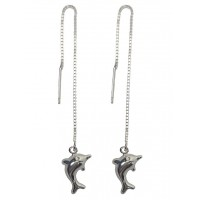 Dolphin Sterling Silver Pull Through Threader Dangle Drop Earrings
