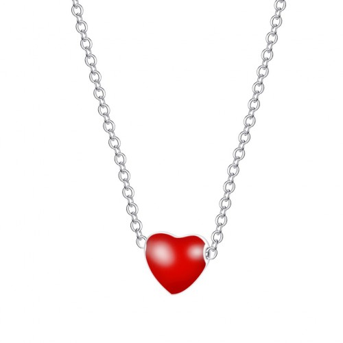 Red 3D Heart Sterling Silver Necklace