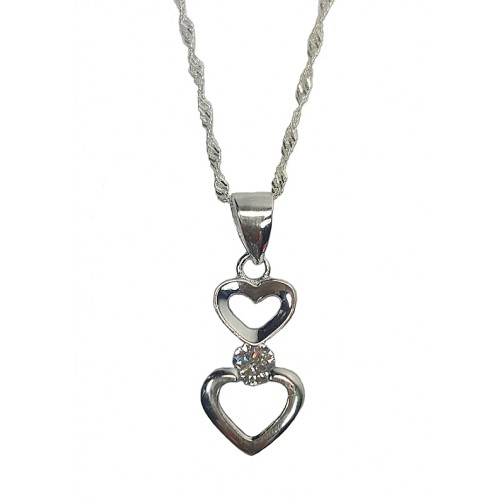 Hearts Zirconia Sterling Silver Pendant Necklace
