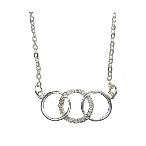 Silver Three Rings Zirconia Necklace