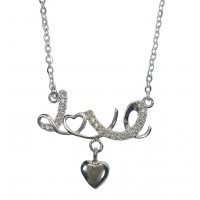 LOVE Heart Pendant Sterling Silver Necklace