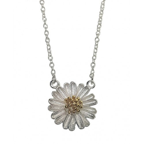 Daisy Flower Sterling Silver Necklace