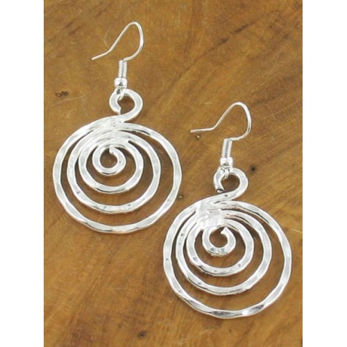 Spiral Hammered Silver Earrings