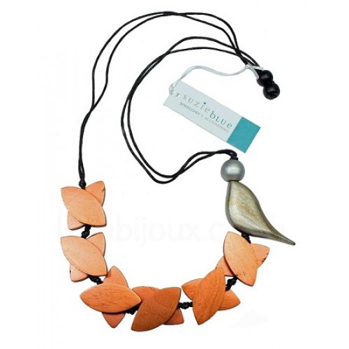 Bird Wooden Petal Beads Necklace